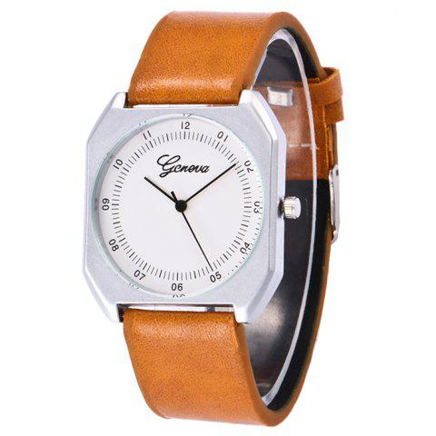 Outfit Faux Leather Strap Number Wrist Watch