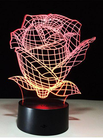 Hot Color Change 3D Visual Rose Shape Touch Night Light - TRANSPARENT  Mobile