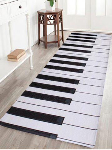 Home Floor Decor Coral Velvet Piano Keyboard Area Rug - Black White - W16 Inch * L47 Inch