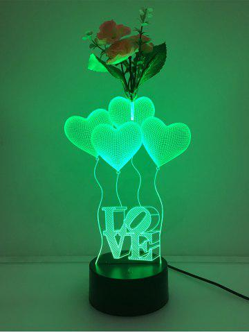 Fashion Flower Decorated 3D Heart Touch Color Change Night Light - TRANSPARENT  Mobile