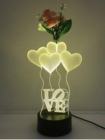 Outfit Flower Decorated 3D Heart Touch Color Change Night Light - TRANSPARENT  Mobile