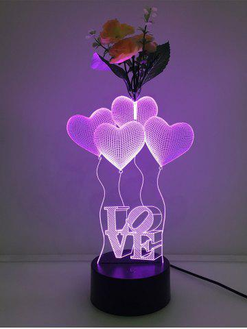Store Flower Decorated 3D Heart Touch Color Change Night Light - TRANSPARENT  Mobile