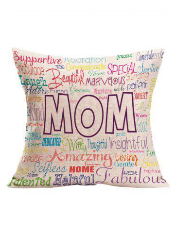 Buy Decorative Letter Pattern Mother's Day Gift Pillow Case OFF WHITE 43*43CM