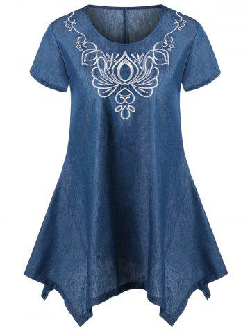 Asymmetric Embroidery Denim T-Shirt - Denim Blue - L