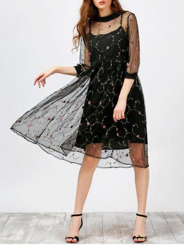 Store Floral Embroidered Lace A Line Midi Dress and Cami Dress