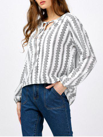 Long Sleeve Self Tie Embroidered Blouse