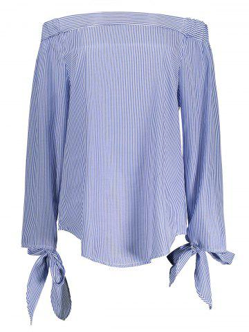 Discount Off The Shoulder Striped Self Tie Blouse BLUE STRIP PATTERN S