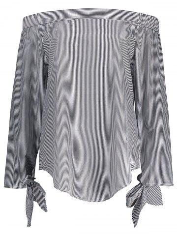 Sale Off The Shoulder Striped Self Tie Blouse
