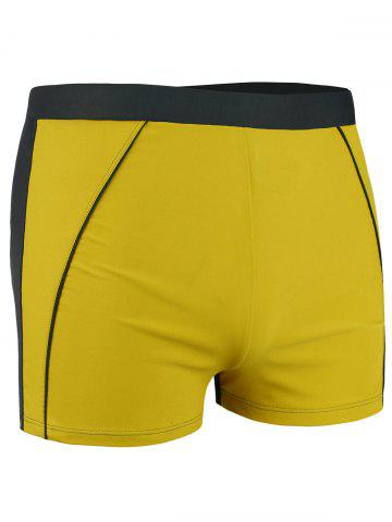 Cheap Lace Up Color Block Swimming Trunks - 4XL YELLOW Mobile