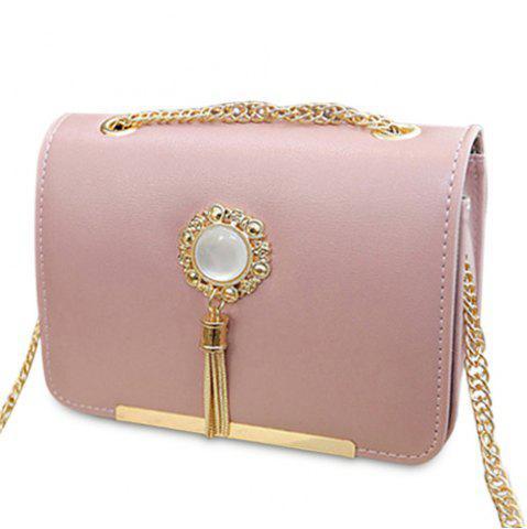 Affordable Chain Tassel Crossbody Bag PINK