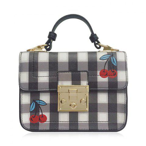 Plaid Cherry Print Cross Body Handbag - Black