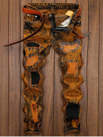 Straight Leg Distress Patch Embellished Jeans, Earthy
