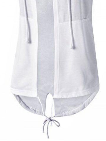 Latest High Low Open Front Hooded Coat - 3XL WHITE Mobile