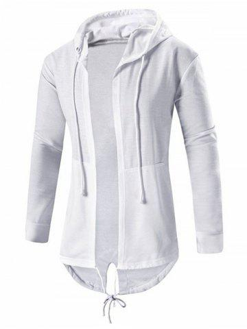 High Low Open Front Hooded Coat - White - M