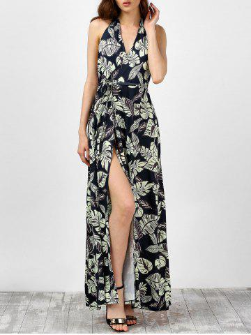 Fashion Leaf Print High Slit Backless Halter Neck Long Dress BLACK XL