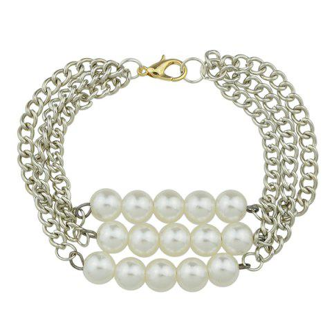 Multilayered Artificial Pearl Chain Bracelet - Silver