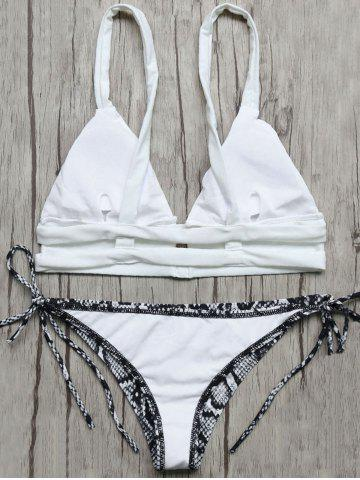 Plunge Bikini Top and Snakeskin String Bottoms - Blue And White - S