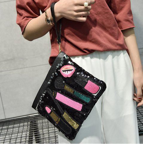 Latest Cosmetic Pattern Sequin Clutch Bag - BLACK  Mobile