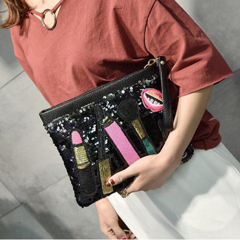 Chic Cosmetic Pattern Sequin Clutch Bag - BLACK  Mobile