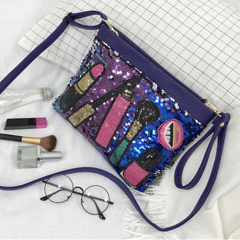 Online Cosmetic Pattern Sequin Clutch Bag - BLUE  Mobile