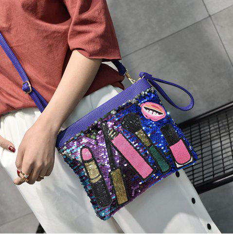Cheap Cosmetic Pattern Sequin Clutch Bag - BLUE  Mobile
