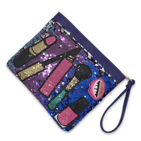 Shop Cosmetic Pattern Sequin Clutch Bag - BLUE  Mobile