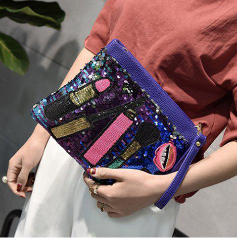 Fashion Cosmetic Pattern Sequin Clutch Bag - BLUE  Mobile