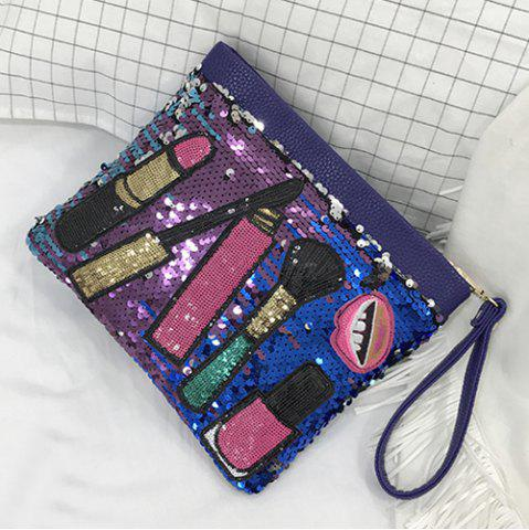 Outfit Cosmetic Pattern Sequin Clutch Bag - BLUE  Mobile