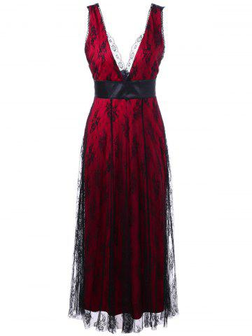 Voile Low Cut Backless Long Evening Party Dress - Red - 2xl