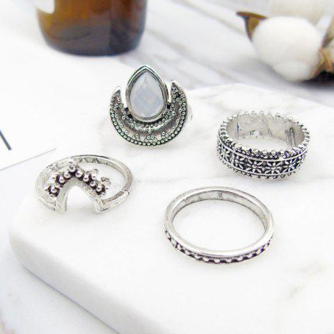 Affordable Faux Gem Moon Teardrop Gypsy Ring Set - SILVER  Mobile