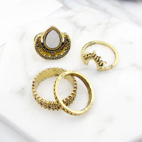 Best Faux Gem Moon Teardrop Gypsy Ring Set - GOLDEN  Mobile