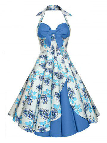 Trendy Vintage Halter Floral A Line Dress