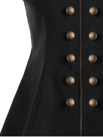 Affordable Double Breast High Low Lapel Dressy Waistcoat - M BLACK Mobile