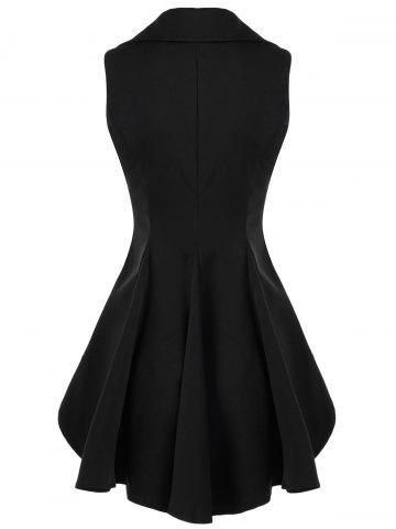 Chic Double Breast High Low Lapel Dressy Waistcoat - M BLACK Mobile