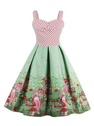 Affordable Scenic Print Polka Dot Vintage Dress GREEN XL