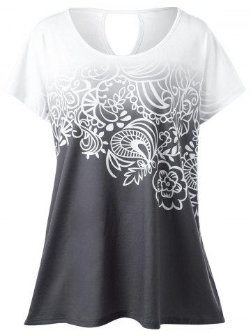 Latest Plus Size Floral Ombre Tee WHITE GREY XL
