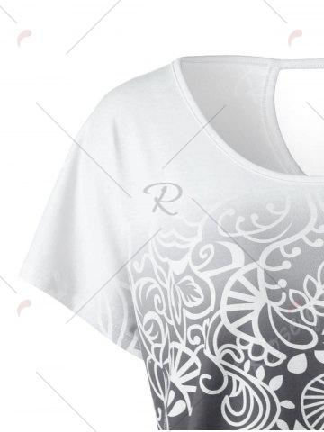 Cheap Plus Size Floral Ombre Tee - 3XL WHITE GREY Mobile
