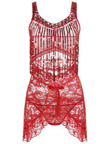 Discount Sequins Lace Fringe Sheer Babydoll RED ONE SIZE