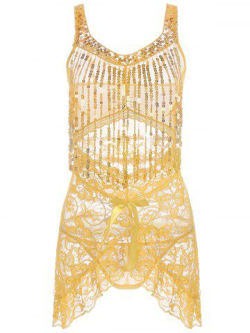 Outfits Sequins Lace Fringe Sheer Babydoll