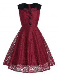 Short Lace Skater Formal Swing Cocktail Dress - WINE RED