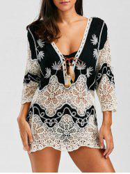 Crochet Lace Insert Plunge Beach Cover Up - Noir
