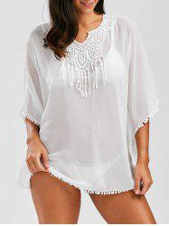 Lace Tassel Panel Batwing Chiffon Cover Up