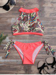 High Neck Bikini Set With Paisley Pattern