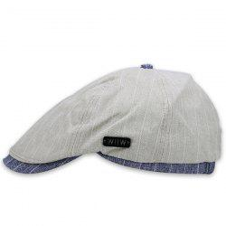 Retro Brim Splicing Striped Flat Hat