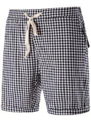 Drawstring Casual Plaid Short