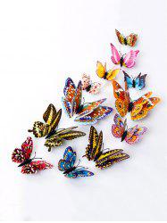 12 PCS 3D DIY Noctilucence Butterfly Wall Sticker - COLORFUL