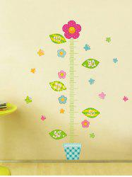 Children Measure Height Ruler Flower Butterfly Wall Decals