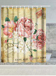 Vintage Big Flower Water Resistant Polyester Shower Curtain