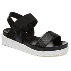Faux Leather Elastic Band Sandals