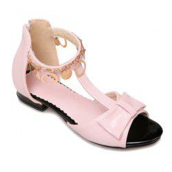 Metal Ring Bow T Strap Flat Sandals